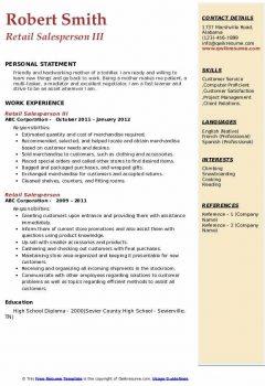 Retail Salesperson III Resume