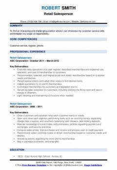 Retail Salesperson Resume