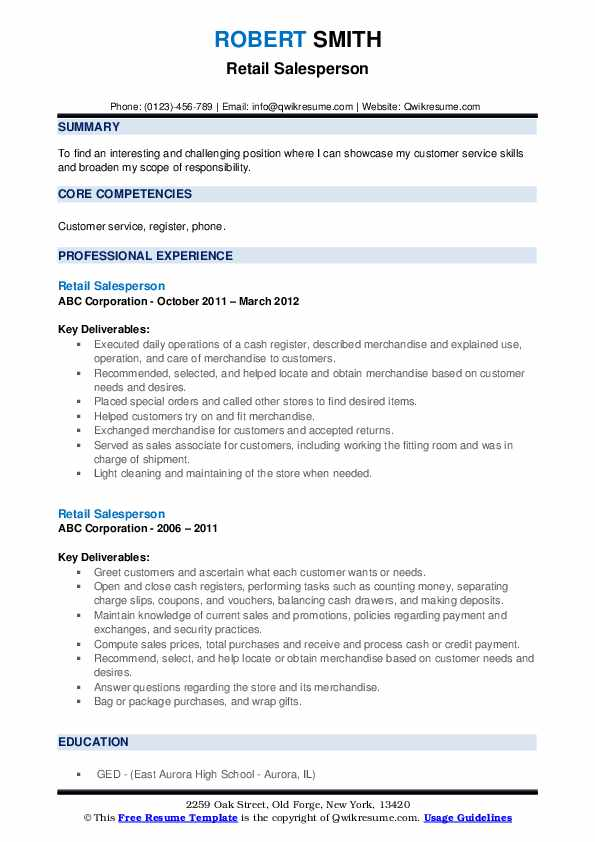 Retail Salesperson Resume .Docx (Word)