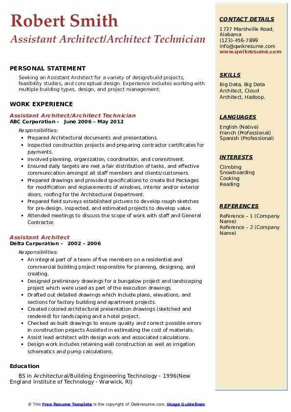 Assistant Architect Architect Technician Resume