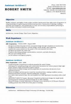 Assistant Architect I Resume > Assistant Architect I Resume .Docx (Word)