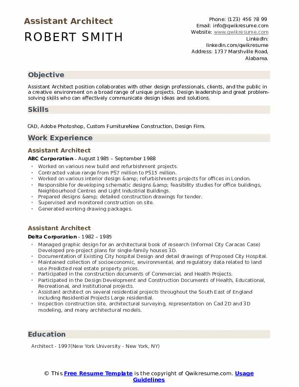 Assistant Architect Resume .Docx (Word)