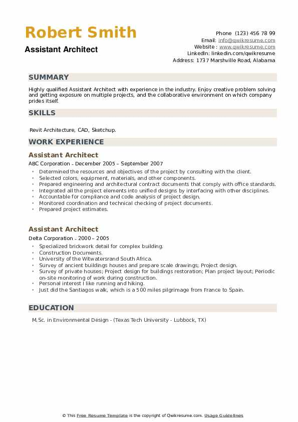 Assistant Architect Resume1 .Docx (Word)