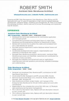 Assistant Data Warehouse Architect Resume > Assistant Data Warehouse Architect Resume .Docx (Word)