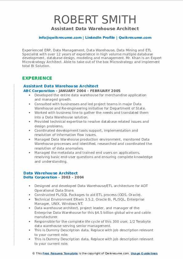 Assistant Data Warehouse Architect Resume