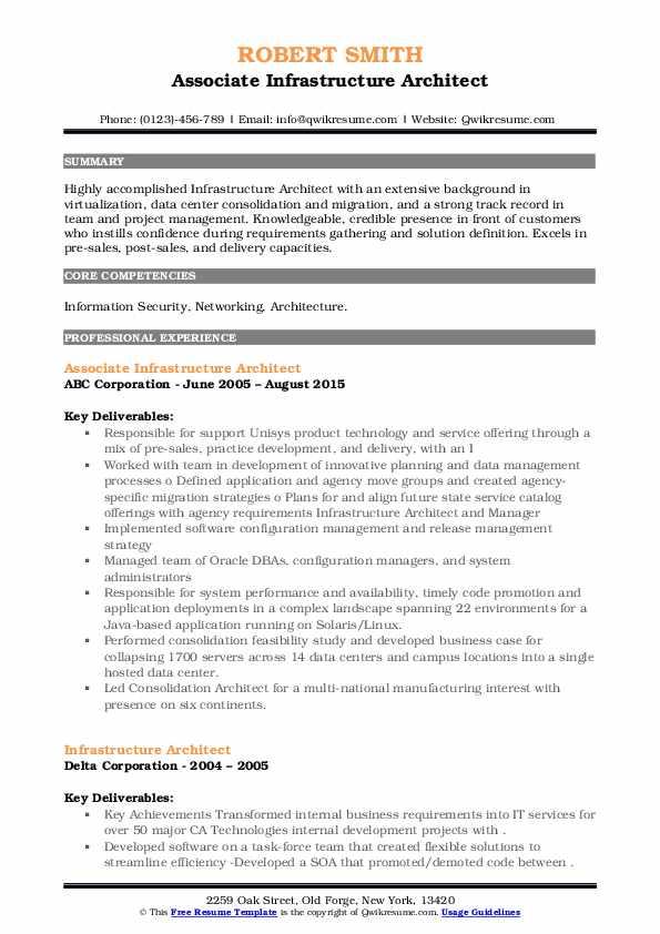 Associate Infrastructure Architect Resume