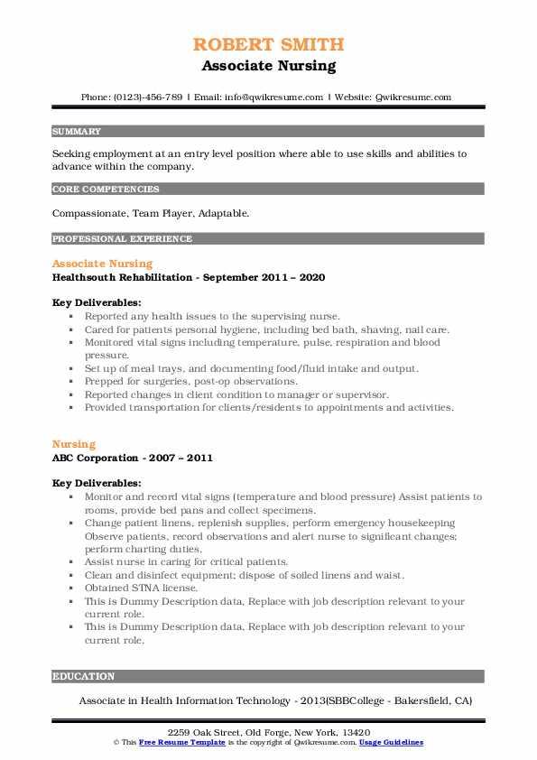 Associate Nursing Resume