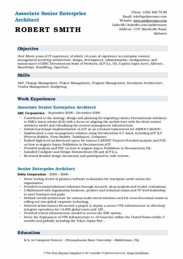 Associate Senior Enterprise Architect Resume