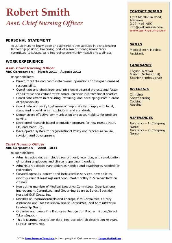 Asst. Chief Nursing Officer Resume .Docx (Word)