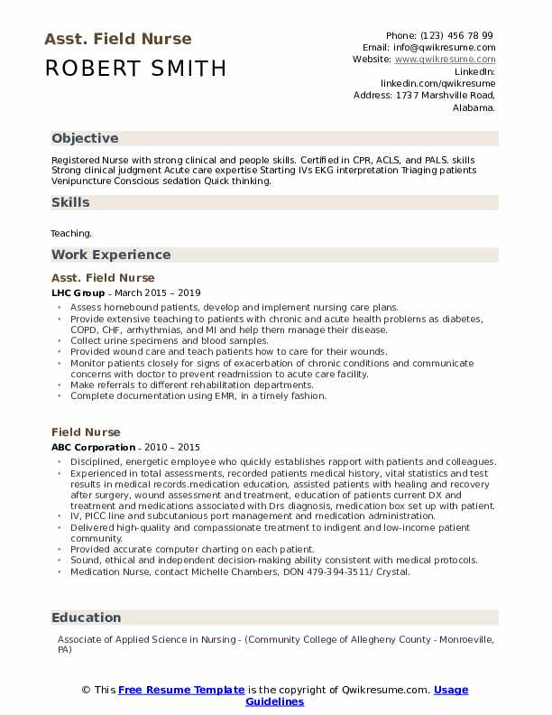 Asst. Field Nurse Resume