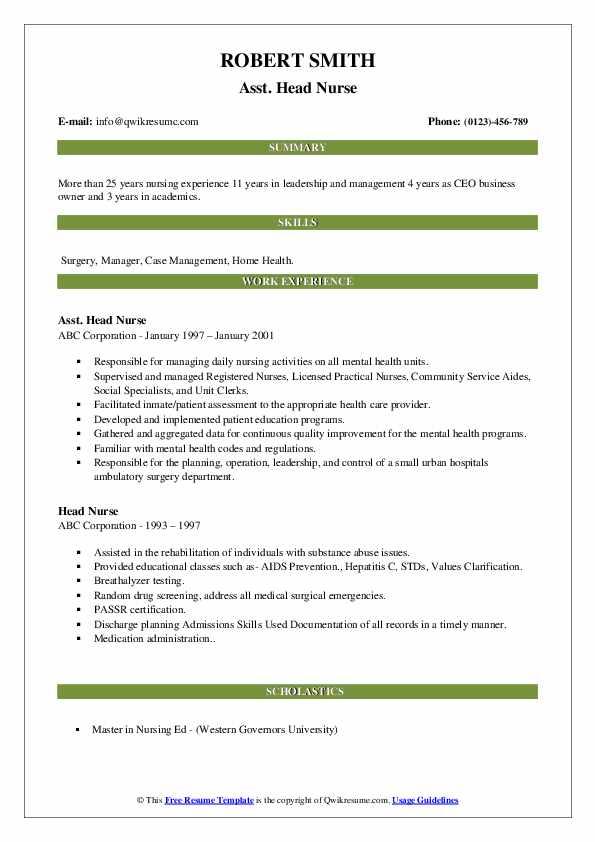 Asst. Head Nurse Resume
