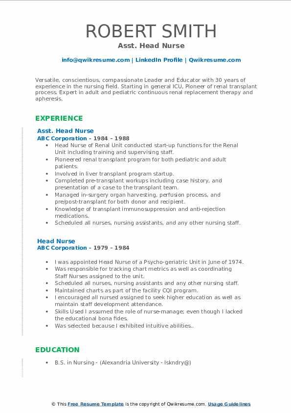 Asst. Head Nurse Resume1