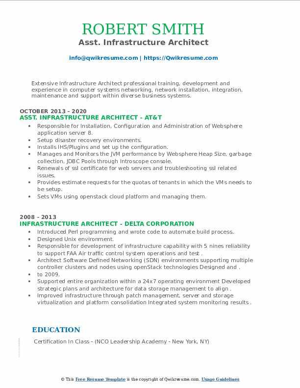 Asst. Infrastructure Architect Resume