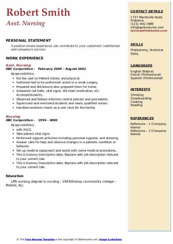 Asst. Nursing Resume