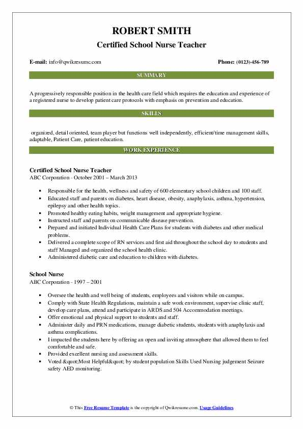 Certified School Nurse Teacher Resume .Docx (Word)