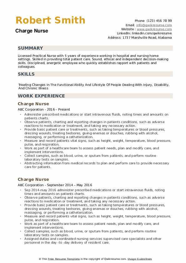 Charge Nurse Resume1 .Docx (Word)