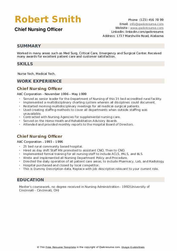 Chief Nursing Officer Resume