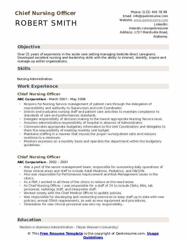 Chief Nursing Officer Resume .Docx (Word)