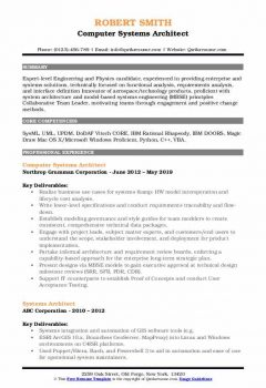 Computer Systems Architect Resume