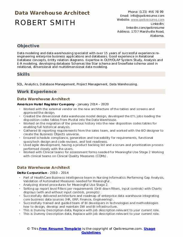 Data Warehouse Architect Resume
