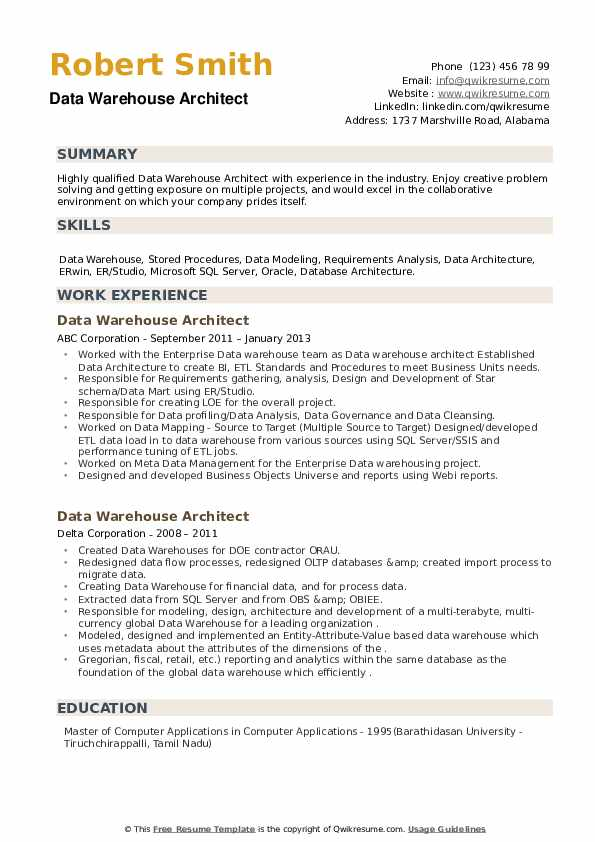 Data Warehouse Architect Resume1