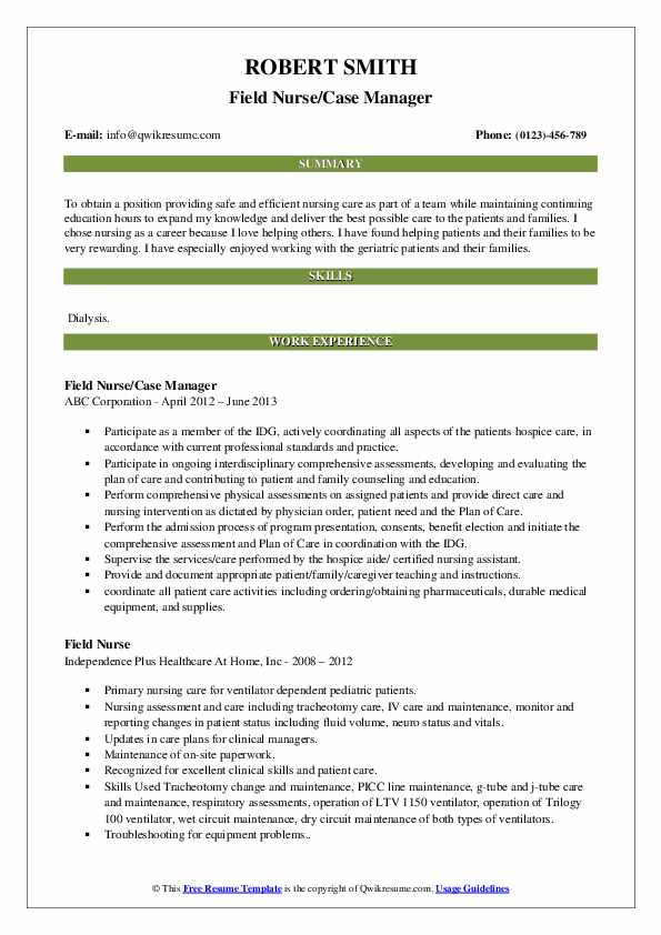 Field Nurse Case Manager Resume