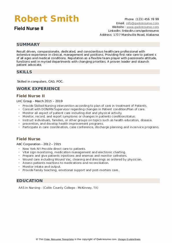 Field Nurse II Resume