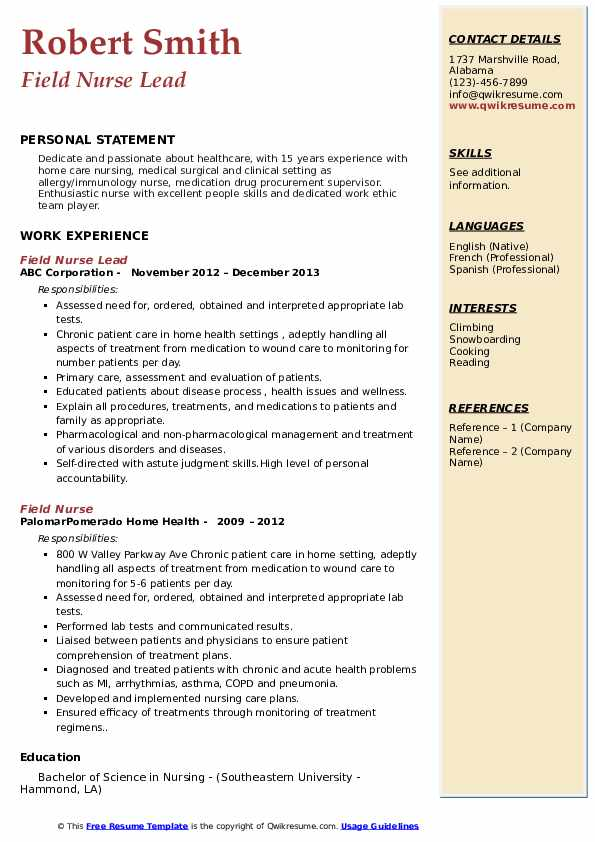 Field Nurse Lead Resume