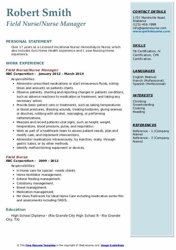 Field Nurse Nurse Manager Resume