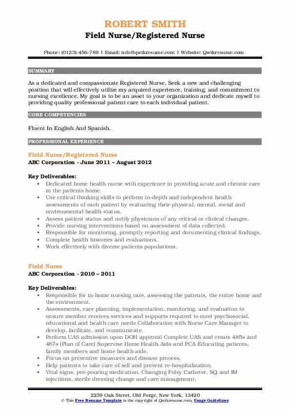 Field Nurse Registered Nurse Resume