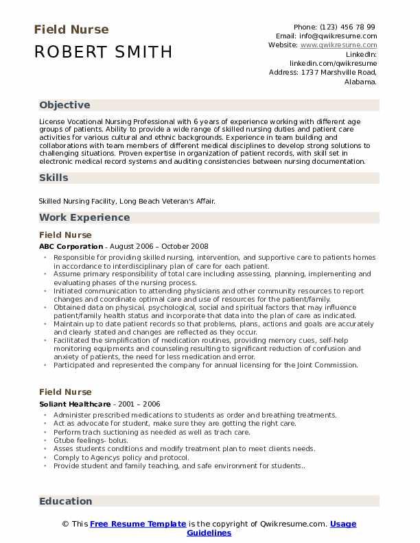 Field Nurse Resume