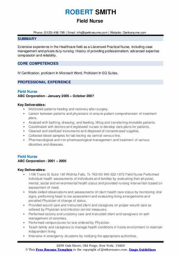 Field Nurse Resume1