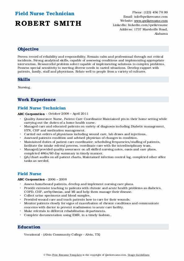 Field Nurse Technician Resume