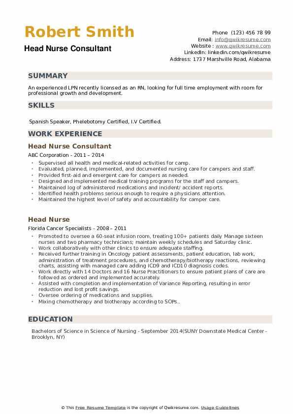 Head Nurse Consultant Resume .Docx (Word)