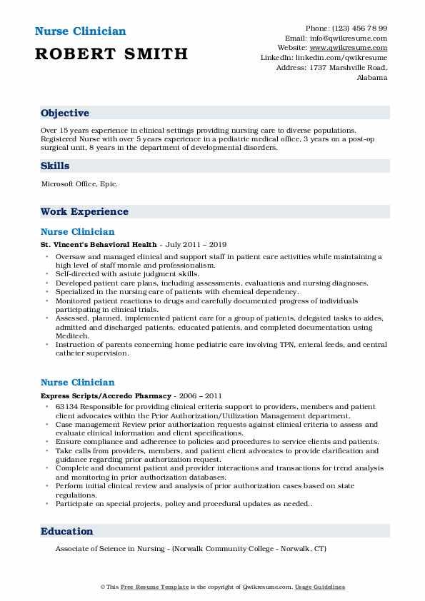 Head Nurse II Resume