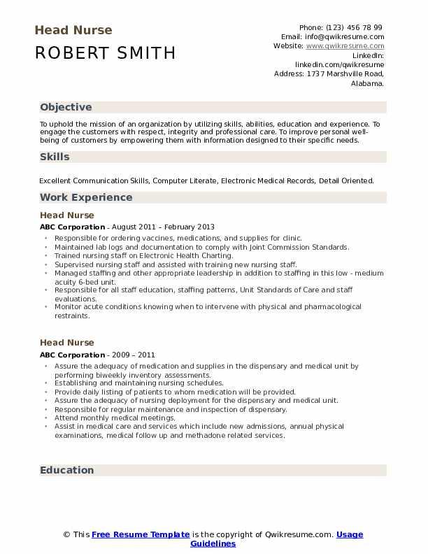 Head Nurse Resume .Docx (Word)