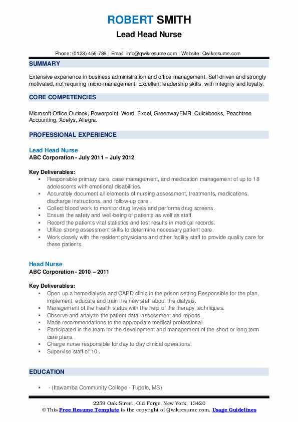 Head Nurse Resume1