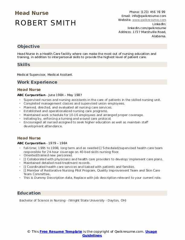 Head Nurse Resume2 .Docx (Word)