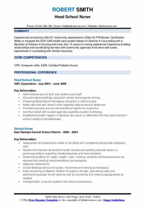 Head School Nurse Resume .Docx (Word)