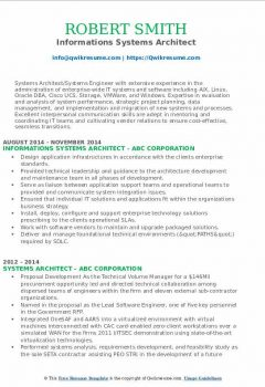 Informations Systems Architect Resume