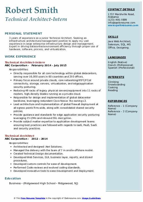 Infrastructure Architect II Resume
