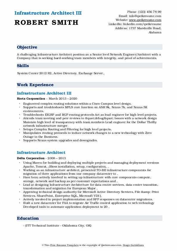 Infrastructure Architect III Resume