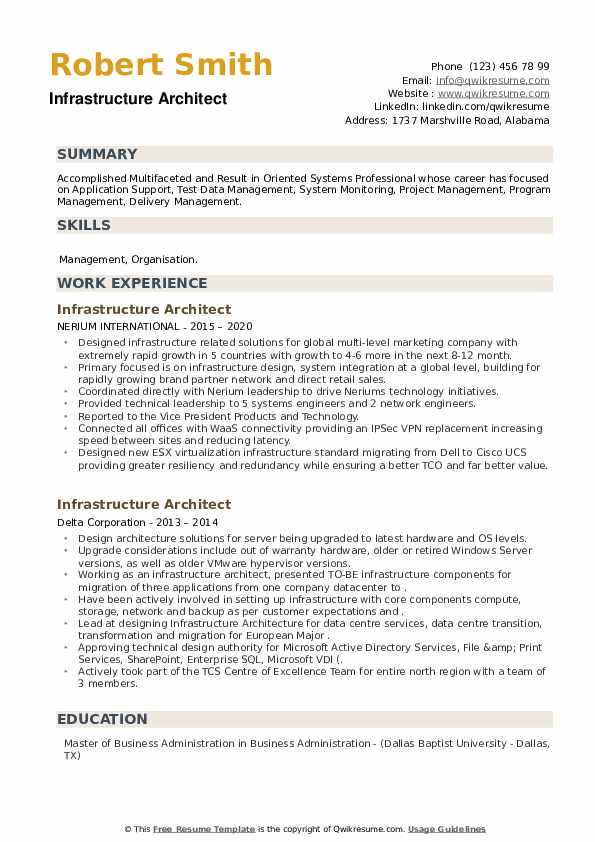 Infrastructure Architect Resume