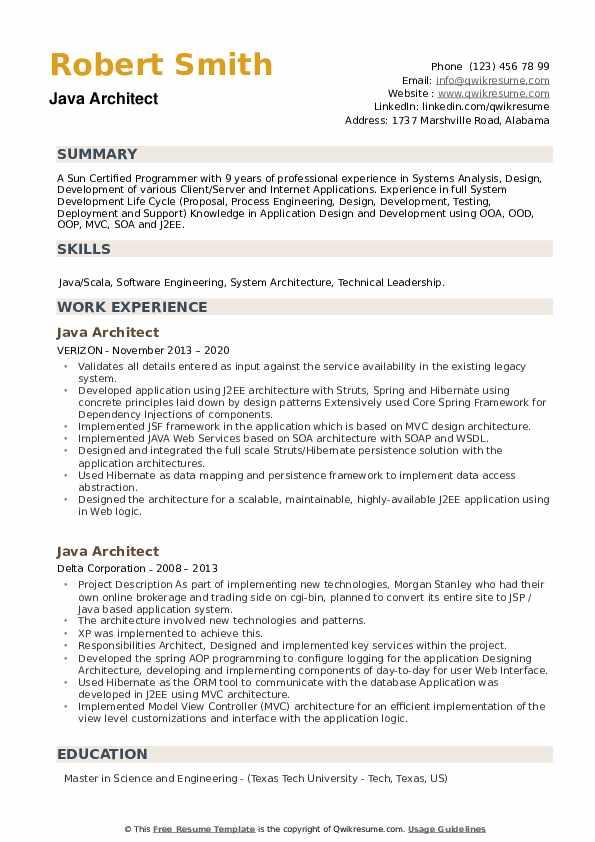 Java Architect Resume