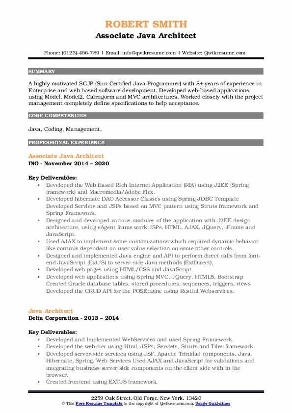 Java Architect Resume3