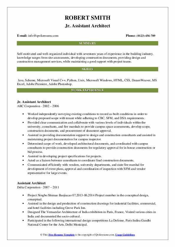 Jr. Assistant Architect Resume .Docx (Word)
