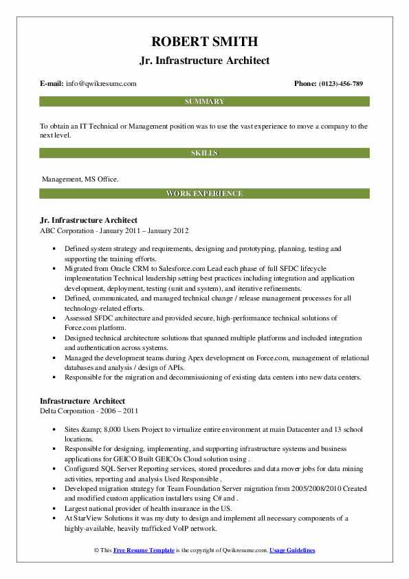 Jr. Infrastructure Architect Resume