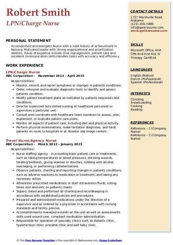 LPN Charge Nurse Resume
