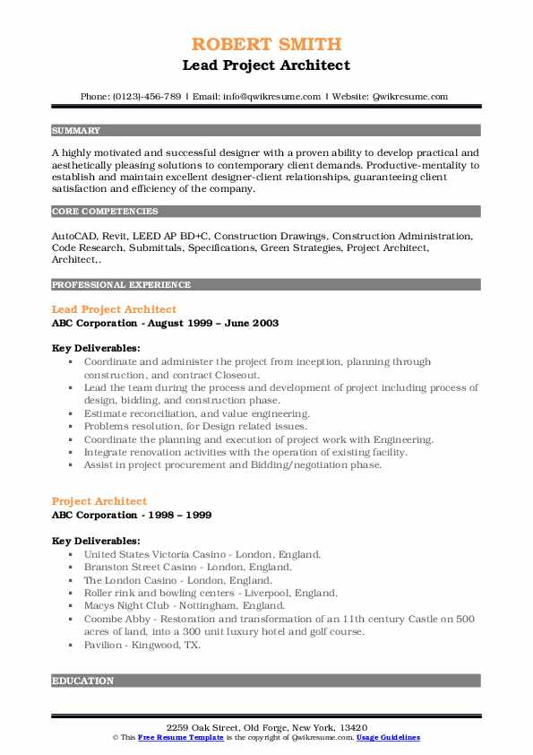 Lead Project Architect Resume