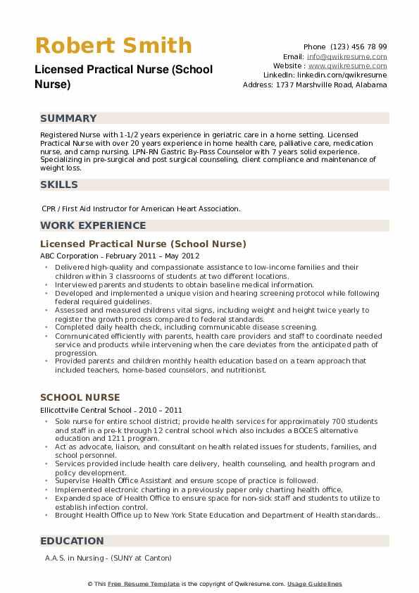 Licensed Practical Nurse (School Nurse) Resume